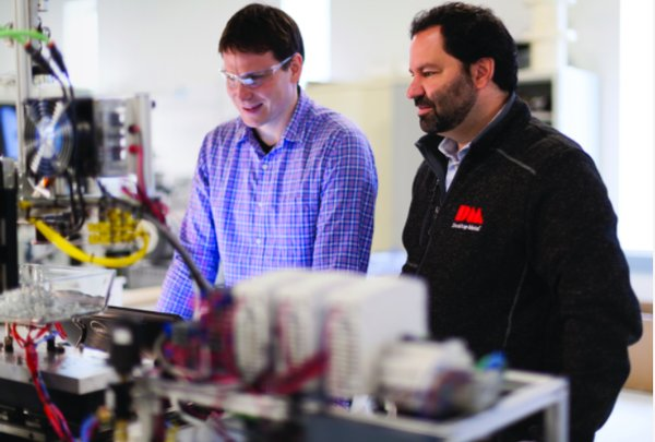 CEO Ric Fulop (right) and Materials Research Scientist Uwe Bauer in Desktop Metal's R&D lab