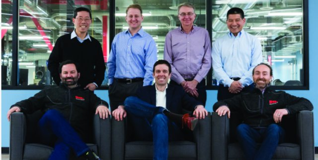 Desktop Metal co-founders (front left to right: CEO Ric Fulop, A. John Hart, Jonah Myerberg; standing left to right: Yet Ming-Chiang, Chris Schuh, Ely Sachs, Rick Chin)