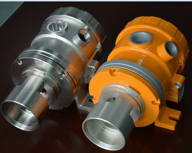 Investment casting and CNC machining, with powder coat (right)