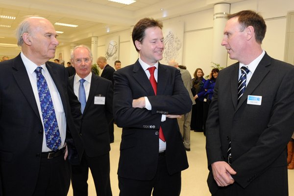 Delcam Demonstrates Robot Machining to Nick Clegg and Vince Cable