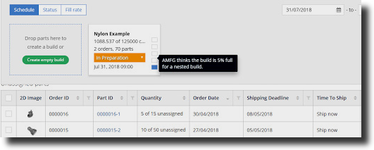 AMFG's Holistic Build Analysis tool delivers fill rate estimation as a percentage.