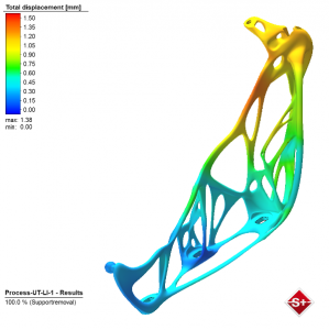 Simulation of an additively manufactured hood hinge (lower part) – results displays displacement