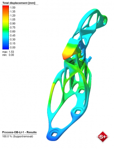 Simulation of an additively manufactured hood hinge (upper part) – results displays displacement