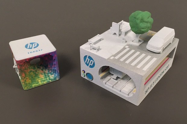 Sample parts printed with HP's Multi Jet Fusion colour technology.
