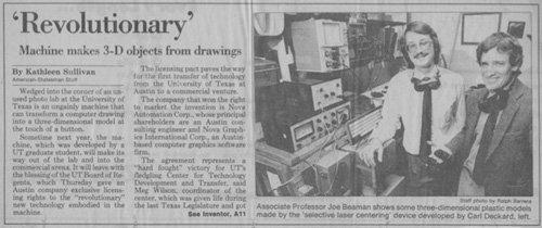 Beaman Deckard Austin American Statesman clipping