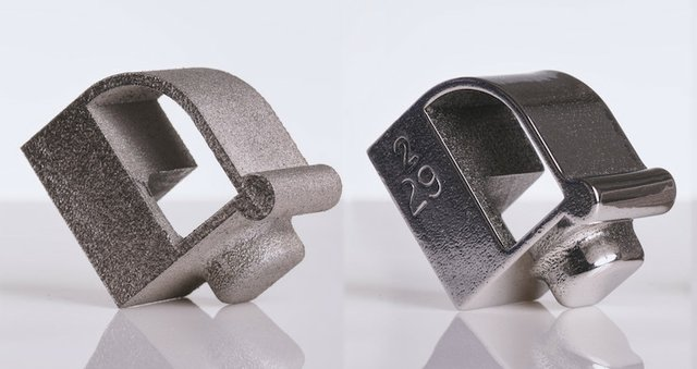 Stainless steel complex test shape, before and after.