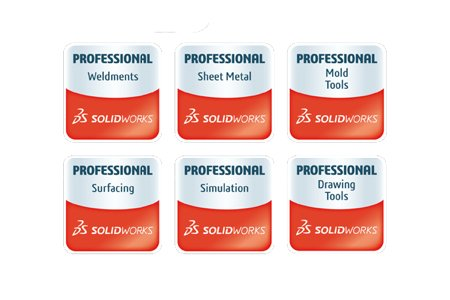 Certified professions in Catia, NX, Creo, Solidworks.