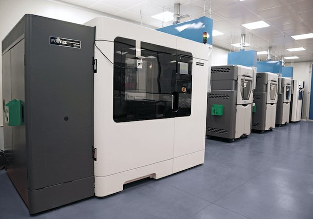 Marchesini Group's 3D printing facility, featuring 12 Stratasys 3D printers.