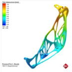 Simulation of an additively manufactured light hinge part (lower part): result displays displacement by Simufact Additive