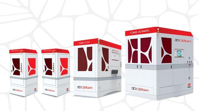 3DCeram range of 3D printers for ceramics oxide and non oxide, from the big build platform 600*600*300 mm of C3600 ULTIMATE to C100 EASY LAB 100*100*150 mm build platform