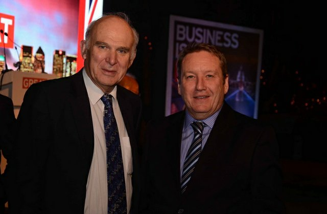 Renishaw's Rhydian Pountney and Vince Cable MP