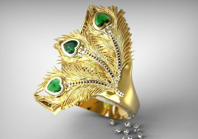 Delcam peacock ring render