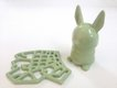 Avocado green ceramic bunny from Shapeways