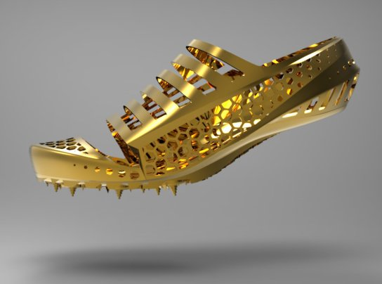 Gold running shoes