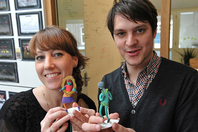 Deborah Scheffers and Harm Wimmenhove with their figures