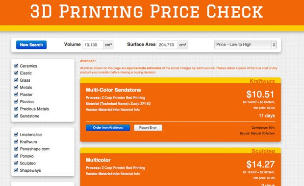 3D Printing Price Checker