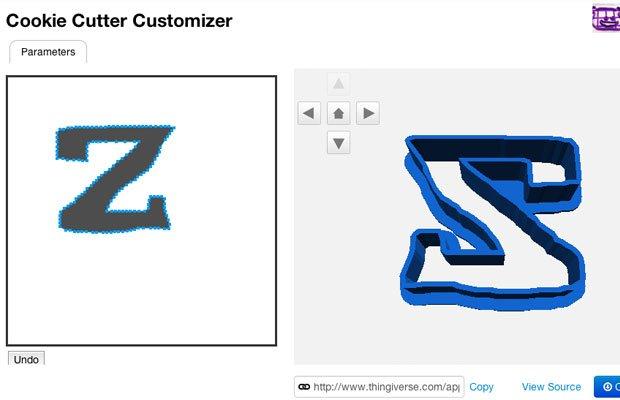 The Design on Thingiverse Customiser