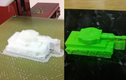 The tanks as they came off both printers shrouded in support