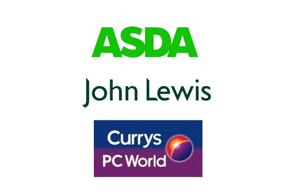 Asda, John Lewis and  Currys PC World