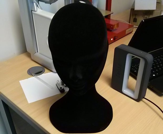 This was the object for scanning; a velvet head