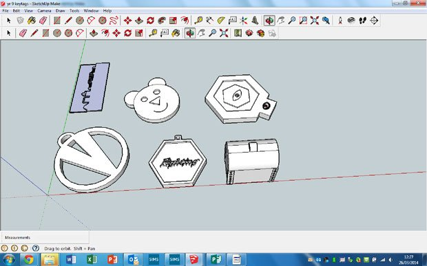 Year 9's Keytags in SketchUp