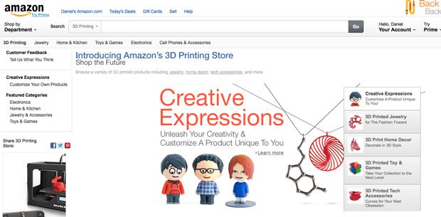 Amazon 3D Printing section