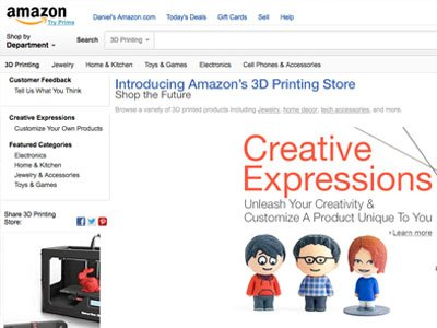 Amazon Launch 3D Printing Section