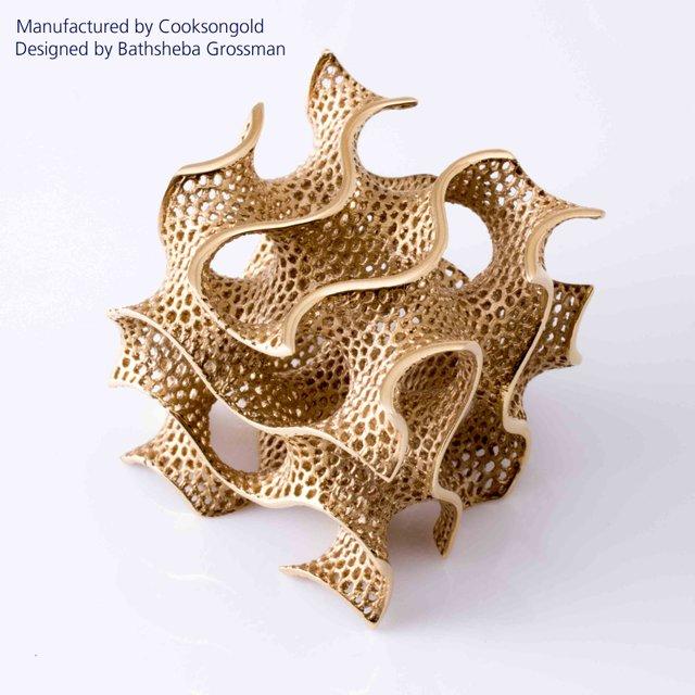 Bathsheba Grossman for Bathsheba Sculpture, LLC, Gyroid 18c Red Gold, 2004