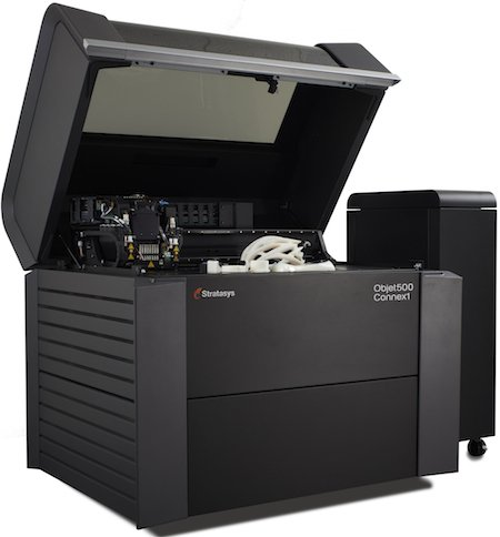 The Objet500 Connex1 Multi-material 3D Printer improves throughput by doubling material capacity and increasing unattended run time.jpg