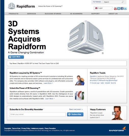 3D Systems Acquires Rapidform SShot