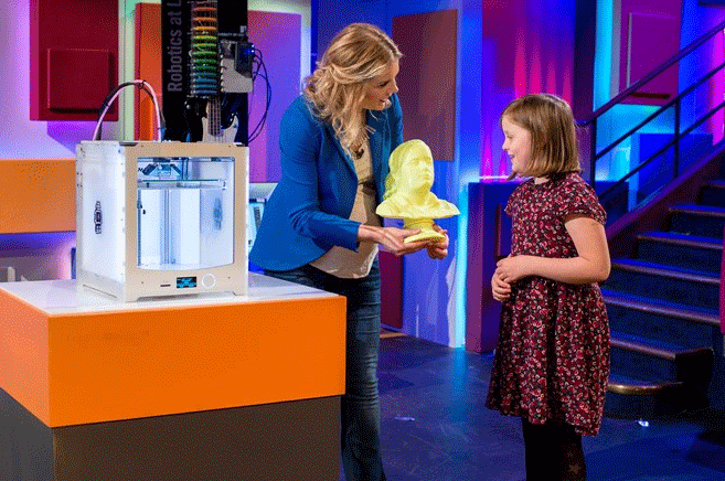 3D Printed bust of Isla at the Christmas Lectures