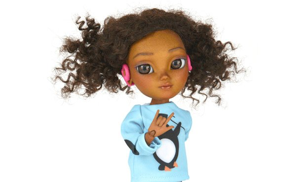 MAKIE doll with hearing aids signing