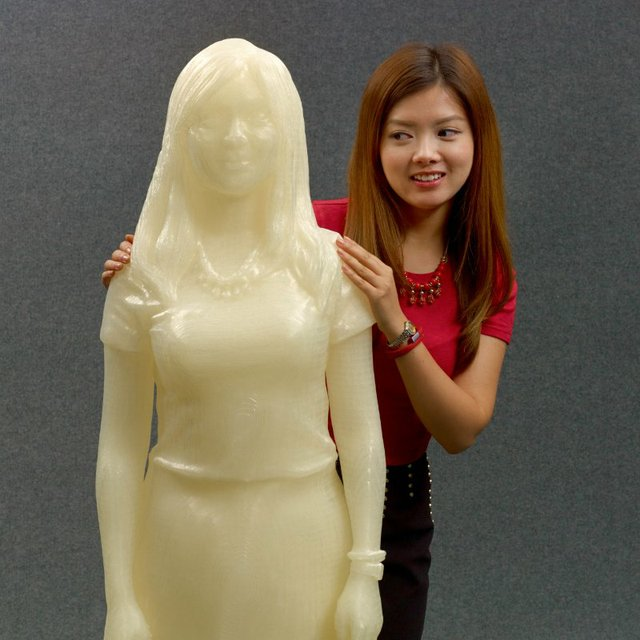 Kecheng and her 3D Printed replica