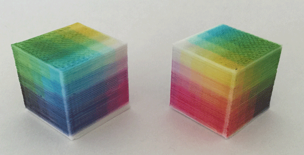 Cubes printed using Lunavast's Direct ot Object Technology