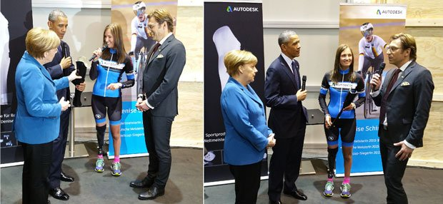 Denise Schindler shows Obama and Merkel her prosthetic