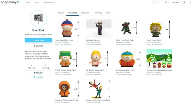 South Park now on Shapeways