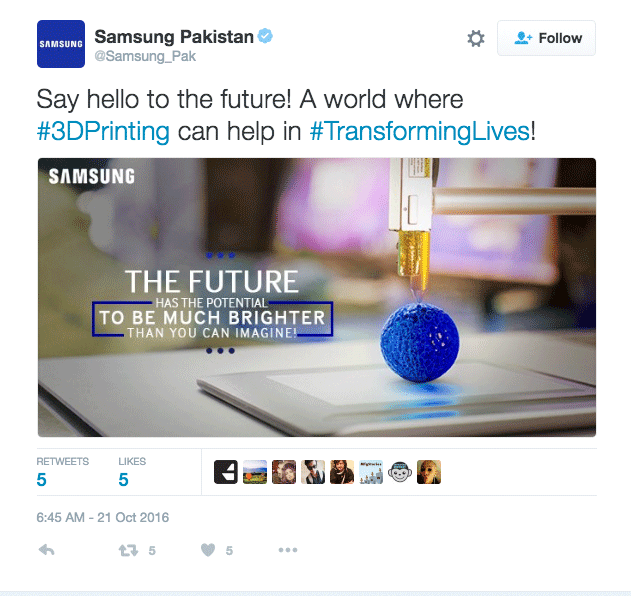 Samsung Pakistan tweets about 3D printing