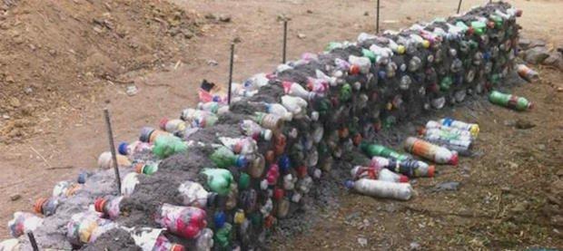 Plastic bottle walls