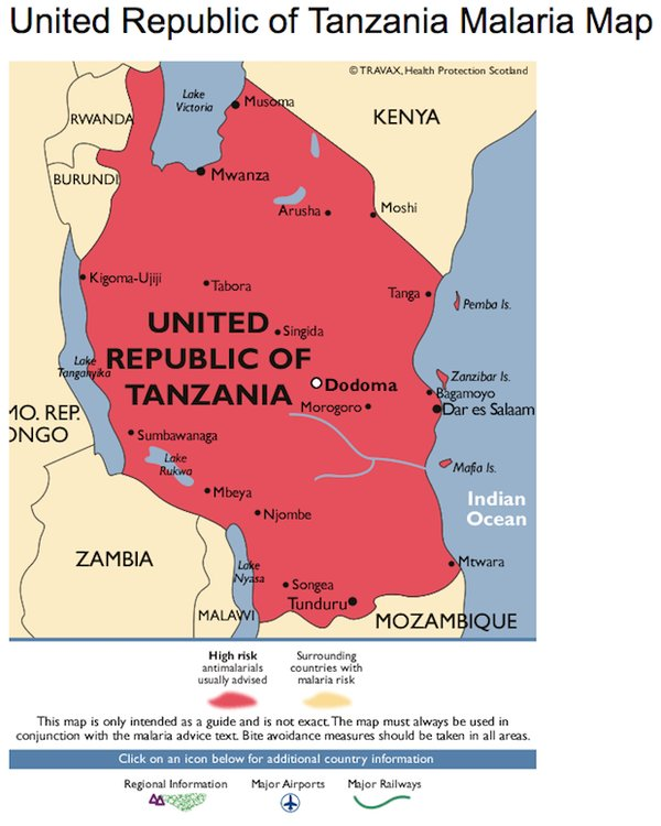 Tanzania Malaria high risk map