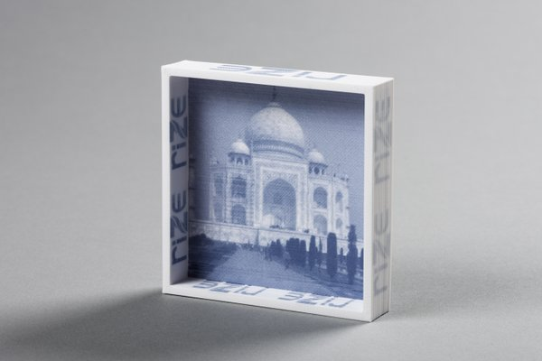 Monochrome image printed as part of a Rize One 3D print